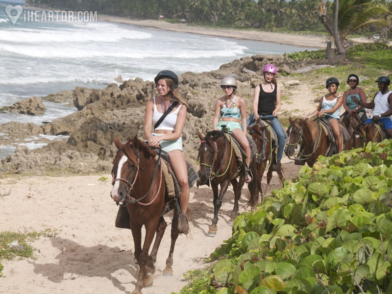 Four girls riding their horses with the beach as a background