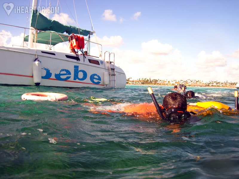 Snorkeling besides the catamaran