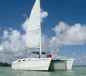 White catamaran in the sea