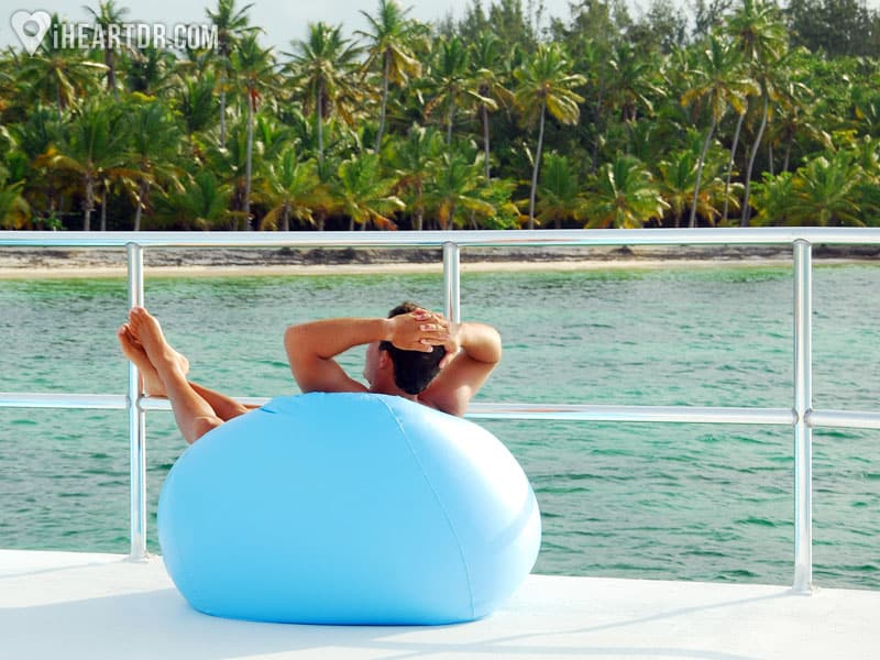 Man taking in the view sitting on a bean bag