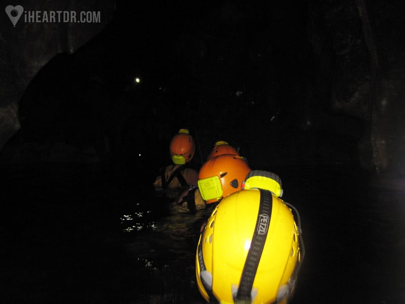 Walking in the underground river, pitch black