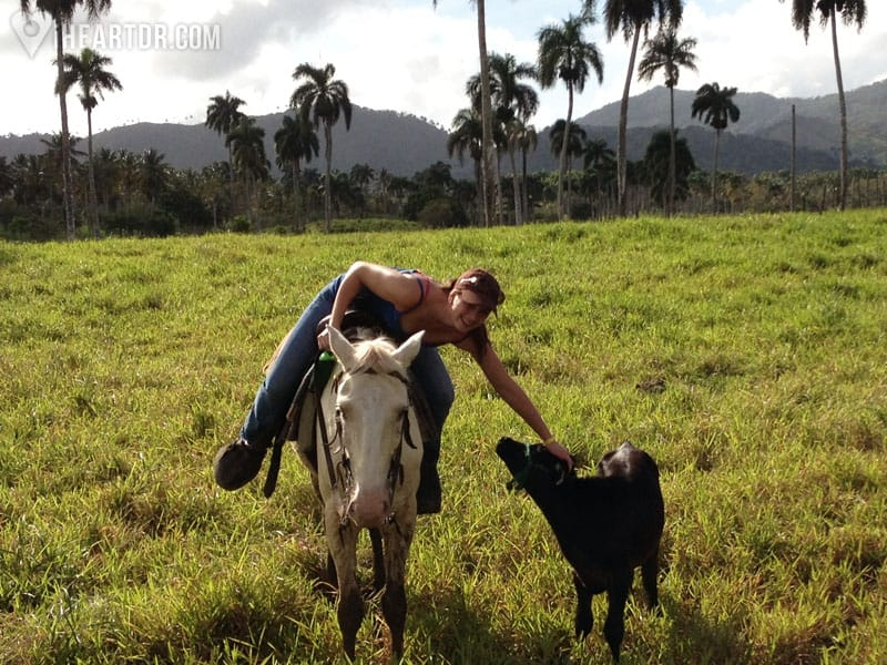 Woman petting a small calf on our Cattle Driving tour near Punta Cana - iHeartDR