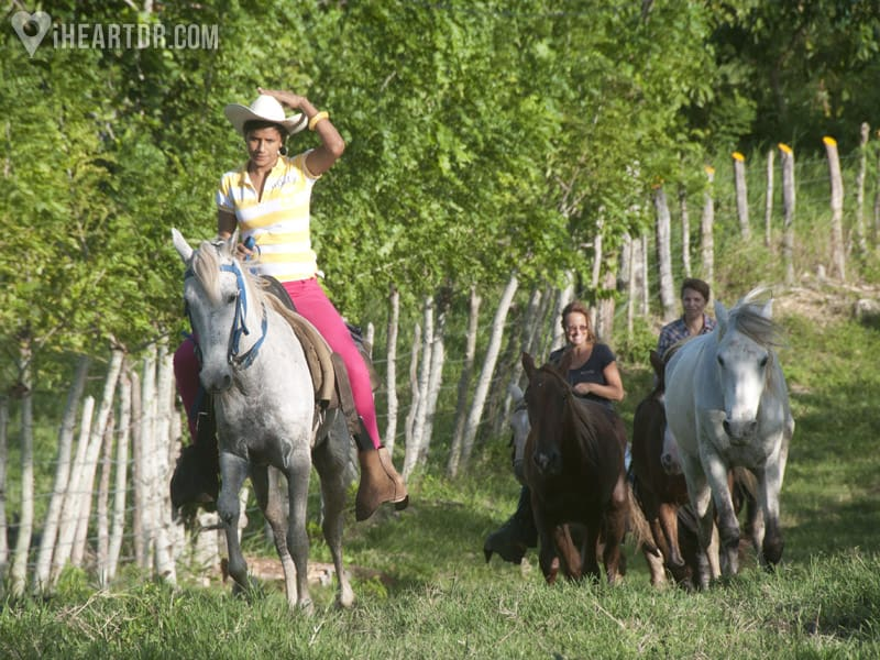 Women riding their horses up a hill