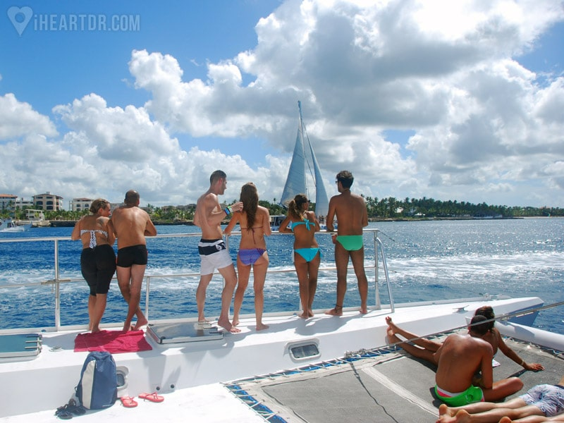 Group of people onboard the catamaran