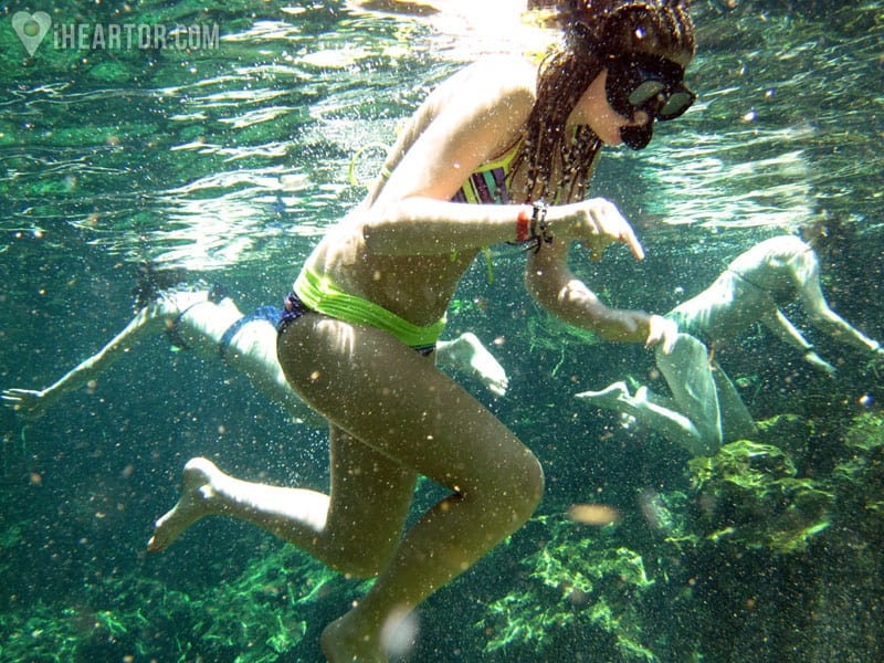 Snorkeling in the crystal clear water of the lagoon at the Indigenous Eyes Ecological Reserve