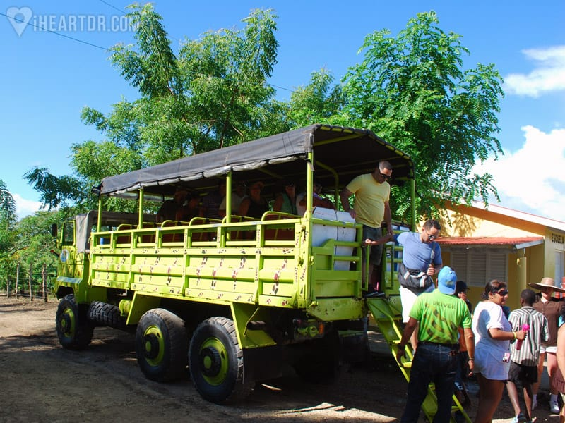Getting off the truck to visit a local school