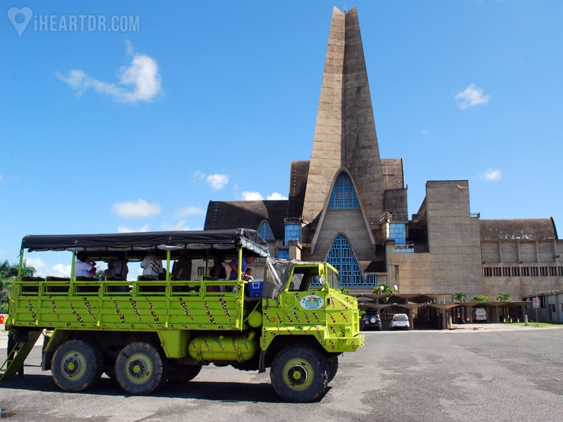 Truck parked in front of the Higuey Basilica