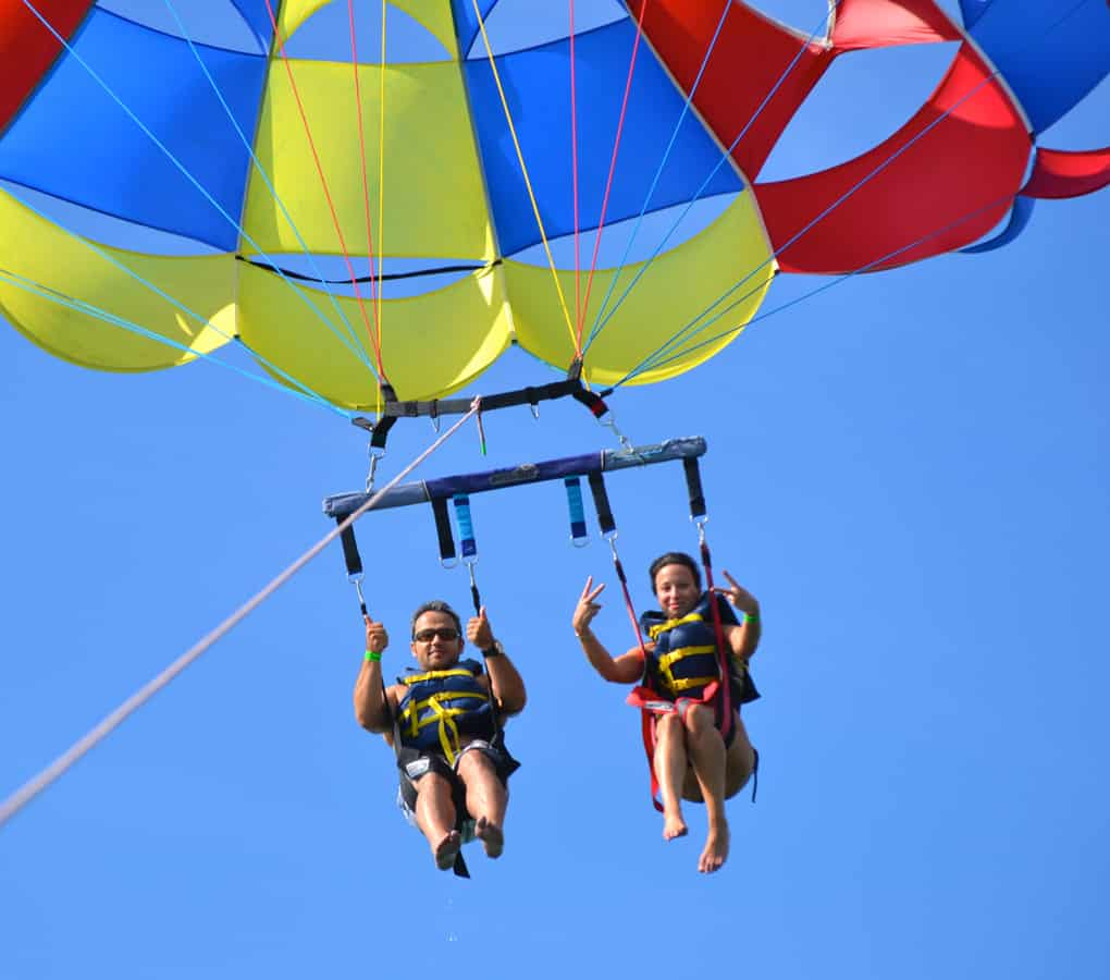 Couple parasailing in Punta Cana Dominican Republic
