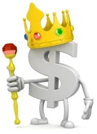 caricature of a dollar sign wearing a crown