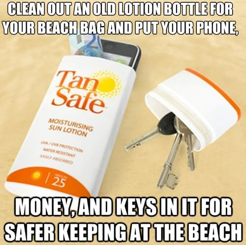 Secret hideout for your valuables while swimming at the beach