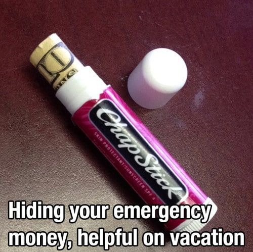 Clever place to hide your vacation emergency money