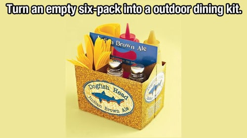 How to use an empty cardboard six-pack as an outdoor food tray