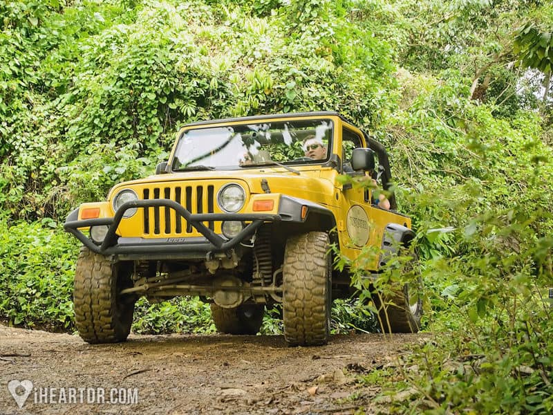 4x4 Jeep driving through the backroads during the Jeep safari in Punta Cana