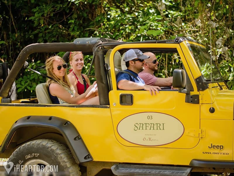 Two couples driving in one of the Jeep Wranglers during the Punta Cana Jeep Safari
