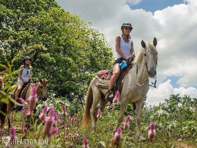 Riding a horse during the Punta Cana jeep tour
