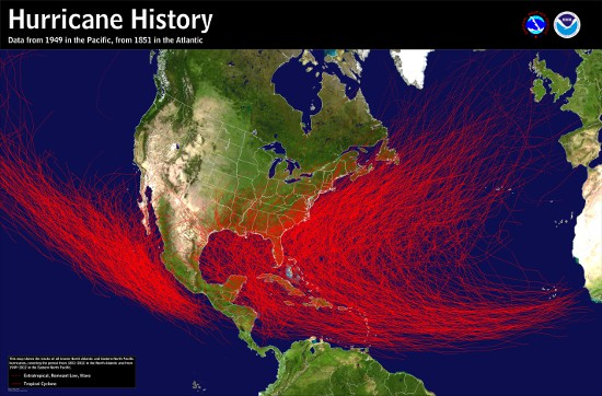Map of the historical tracks of hurricanes
