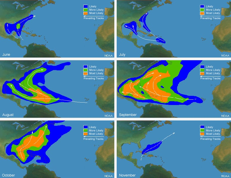 Maps of likely hurricane tracks in the caribbean by month