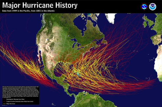 Map of the historical tracks of major hurricanes