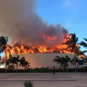 Restaurant roof on fire at the Hard Rock Hotel