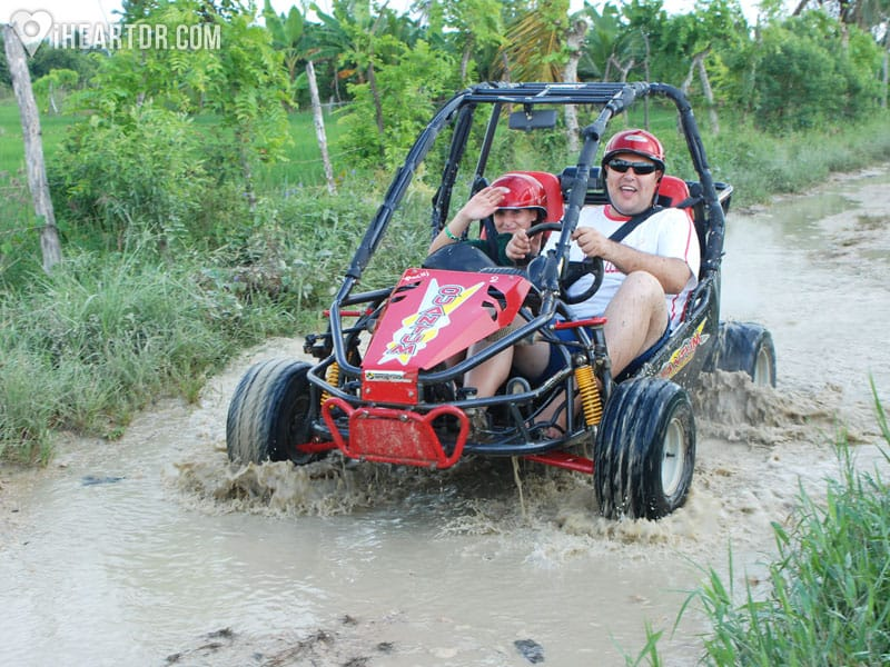 Father and son on a buggy