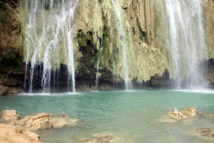 The base of El Limon waterfall in Samana Dominican Republic