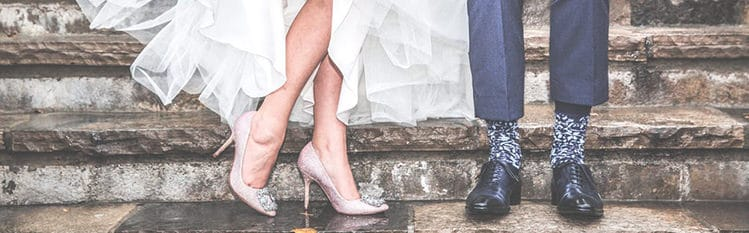 Bride and groom's shoes photo