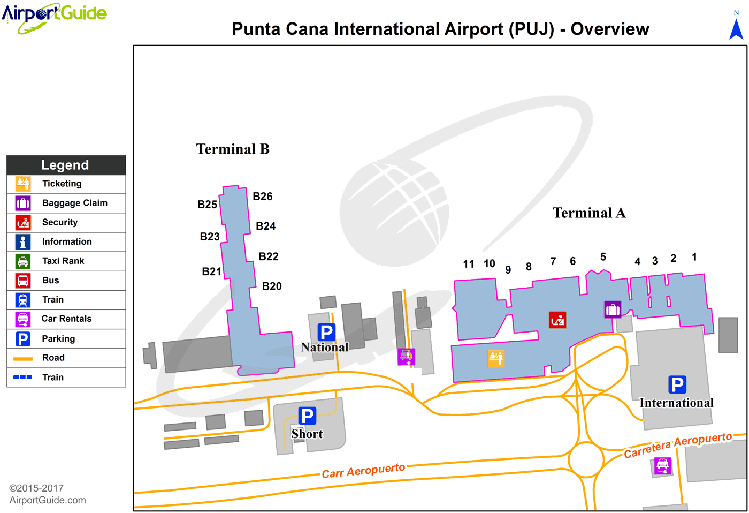 map of the terminals at Punta Cana international airport (PUJ)