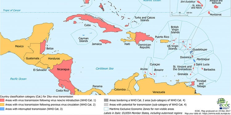 Zika transmission in the Caribbean map