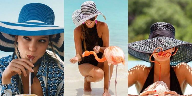 A girl with three different outfits for the beach