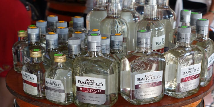 Bottles of white rum from the Dominican Republic