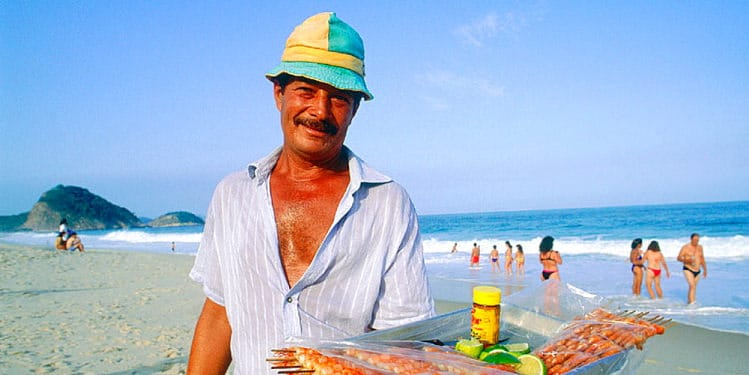 A seller in the beach
