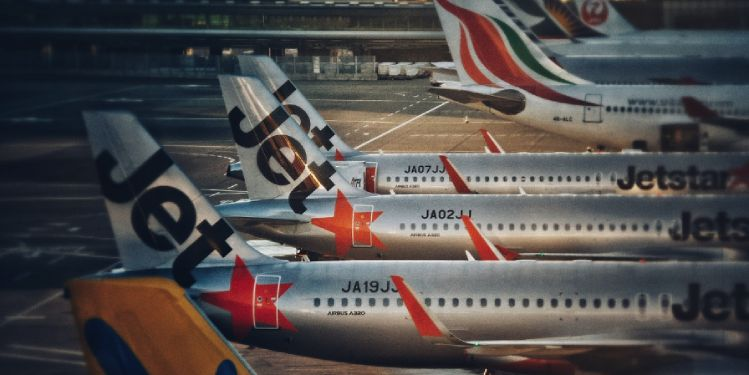 Jets parked on airport