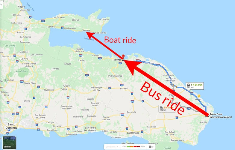 map of the route from punta cana to miches